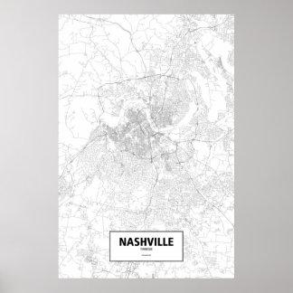 Nashville, Tennessee (black on white) Poster