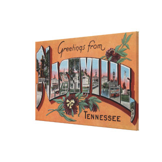 Nashville, Tennessee - Large Letter Scenes Canvas Print