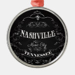 Nashville, Tennessee - Music City Silver-Colored Round Decoration