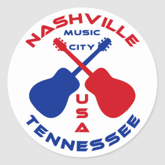 Nashville, Tennessee Music City USA Classic Round Sticker