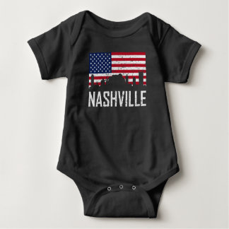 Nashville Tennessee Skyline American Flag Distress Baby Bodysuit