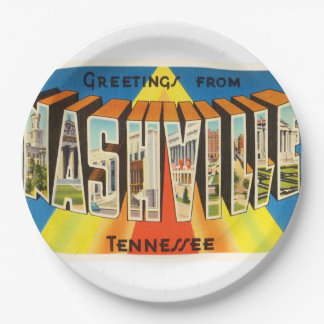 Nashville Tennessee TN Old Vintage Travel Souvenir 9 Inch Paper Plate