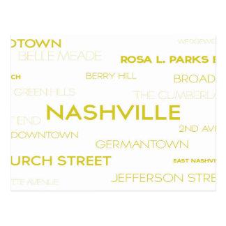 Nashville, TN Famous Neighborhoods White Postcard
