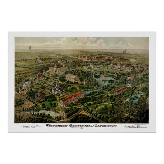 Nashville, TN Panoramic Map - 1897 Poster