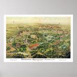 Nashville TN Panoramic Map DIGITALLY REMASTERED Poster