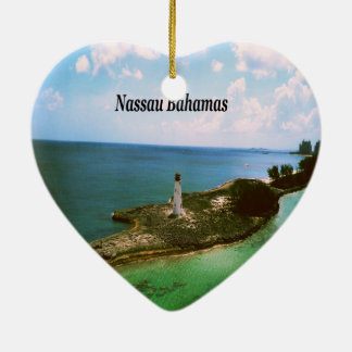 Nassau Bahamas, lighthouse  in harbor Ceramic Ornament