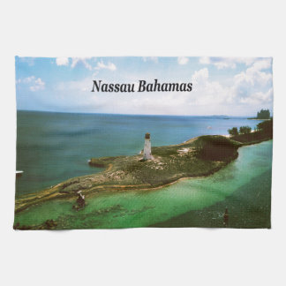 Nassau Bahamas, lighthouse  in harbor Hand Towels
