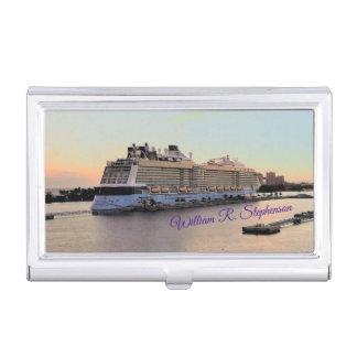 Nassau Daybreak with Cruise Ship Personalized Business Card Holder