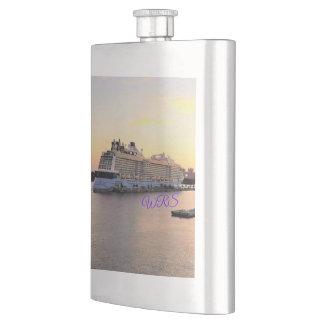 Nassau Harbor Daybreak and Cruise Ship Monogrammed Hip Flask