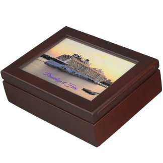 Nassau Harbor Daybreak Cruise Ship Personalized Keepsake Box
