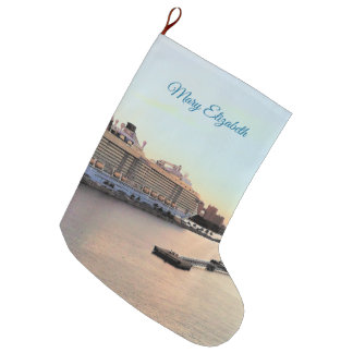 Nassau Harbor Daybreak Cruise Ship Personalized Large Christmas Stocking
