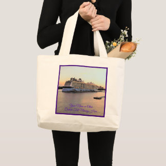 Nassau Harbor Daybreak Cruise Ship Personalized Large Tote Bag