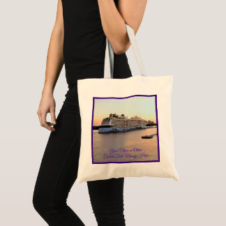 Nassau Harbor Daybreak Cruise Ship Personalized Tote Bag