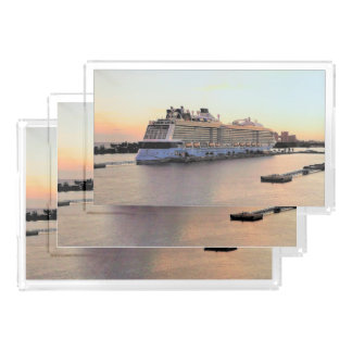 Nassau Harbor Daybreak with Cruise Ship Acrylic Tray