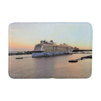 Nassau Harbor Daybreak with Cruise Ship Bath Mat