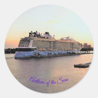 Nassau Harbor Daybreak with Cruise Ship Custom Classic Round Sticker
