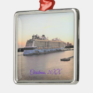 Nassau Harbor Daybreak with Cruise Ship Dated Metal Ornament