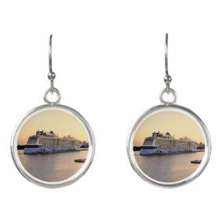 Nassau Harbor Daybreak with Cruise Ship Earrings
