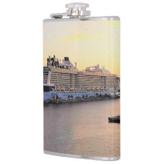 Nassau Harbor Daybreak with Cruise Ship Hip Flask