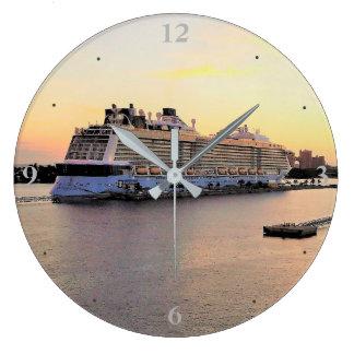 Nassau Harbor Daybreak with Cruise Ship Large Clock
