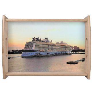 Nassau Harbor Daybreak with Cruise Ship Serving Tray