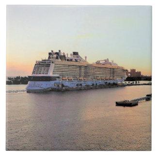 Nassau Harbor Daybreak with Cruise Ship Tile