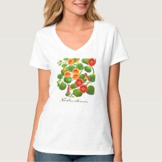 Nasturtium Floral Jersey Knit V-Neck Shirt