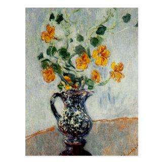 Nasturtiums in a Blue Vase by Monet Postcard