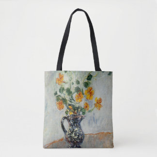 Nasturtiums in a Blue Vase by Monet Tote Bag