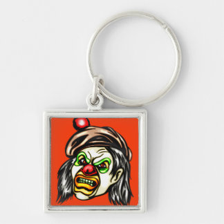 Nasty Evil Clown Silver-Colored Square Key Ring