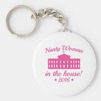 Nasty Woman Basic Round Button Key Ring