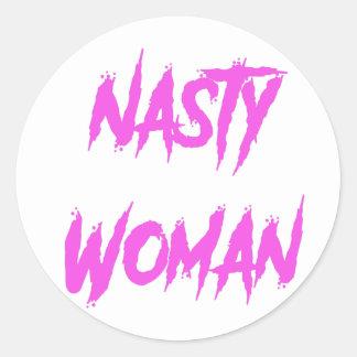 Nasty Woman Pink Classic Round Sticker