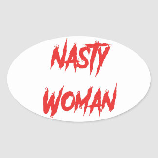 Nasty Woman Red Oval Sticker