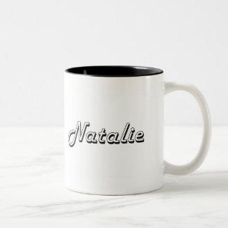 Natalie Classic Retro Name Design Two-Tone Mug