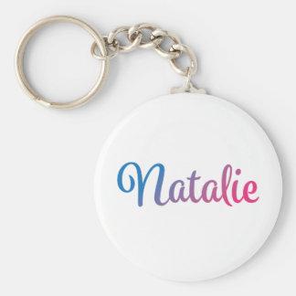 Natalie Stylish Cursive Basic Round Button Key Ring