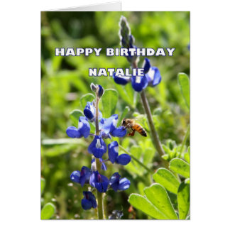 Natalie Texas Bluebonnet Happy Birthday Greeting Cards