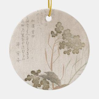 Natane Flower - Japanese Origin - Edo Period Round Ceramic Decoration