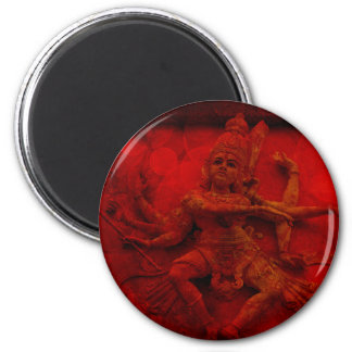 Nataraj Dancing Shiva Wall Relief Statue Red Grung 6 Cm Round Magnet
