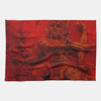 Nataraj Dancing Shiva Wall Relief Statue Red Grung Tea Towels