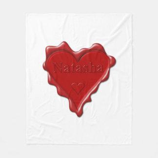 Natasha. Red heart wax seal with name Natasha Fleece Blanket