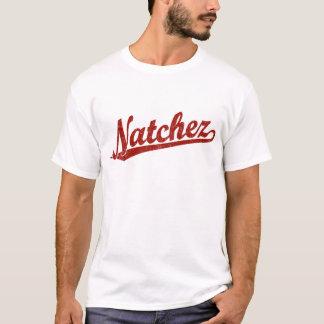 Natchez script logo in red distressed T-Shirt