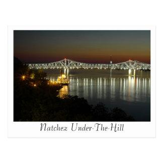 Natchez Under-The-Hill & Bridge Postcard