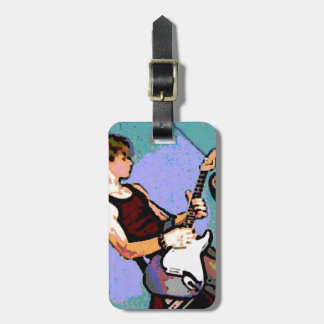 Nate and Guitar Luggage Tag