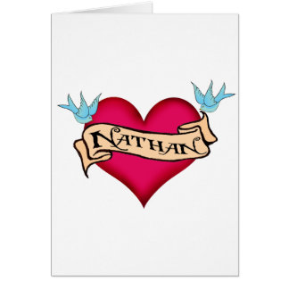 Nathan - Custom Heart Tattoo T-shirts & Gifts Greeting Card