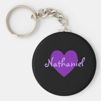 Nathaniel in Purple Basic Round Button Key Ring