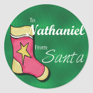 Nathaniel Personalised Christmas Label Round Sticker