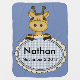Nathan's Personalized Giraffe Baby Blanket