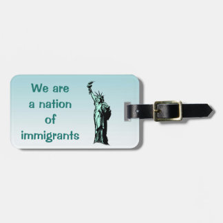 Nation of Immigrants Blue Luggage Tag