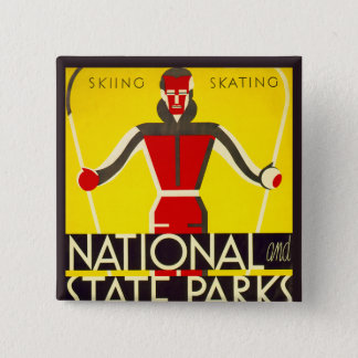 National and state parks, skiing - Dorothy Waugh 15 Cm Square Badge