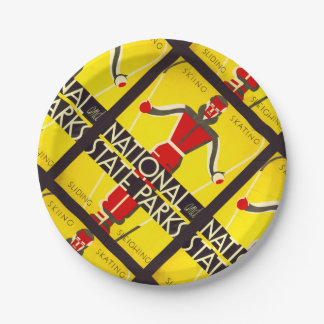 National and state parks, skiing - Dorothy Waugh 7 Inch Paper Plate
